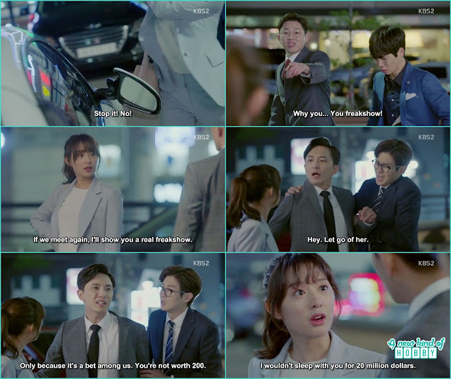 ae ra kick and broke the car mirrors of those who bet on her -  Fight for my Way: Episode 2 korean drama