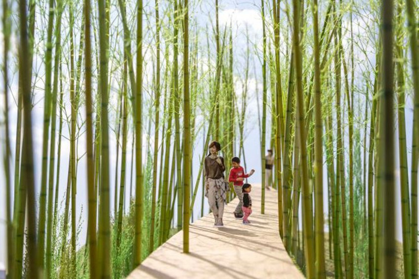 Digital rendering of the elevated walking trail proposed by Korean artist Choi Jae-eun and designed by Japanese architect Shigeru Ban.