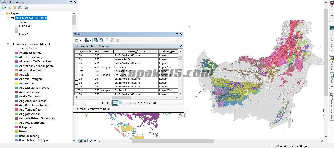 Data SHP Peta Formasi Pembawa Batubara dan Mineral Indonesia