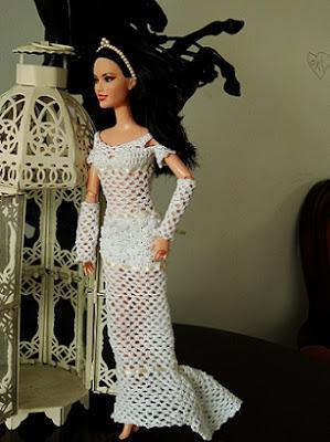 Barbie por Pecunia MM vestido de noiva de crochet