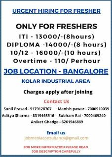 ITI Job Vacancy In Honda Motorcycle & Scooters India Pvt Ltd Bangalore Plant