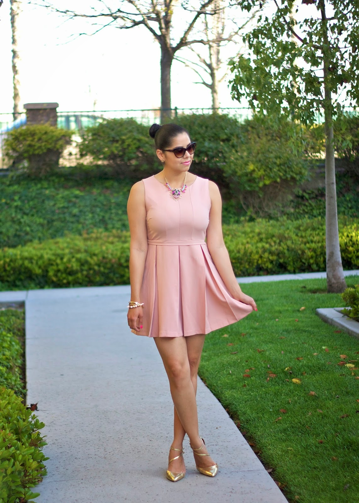 Blush and Gold Outfit, pale pink and gold outfit, pink and gold outfit