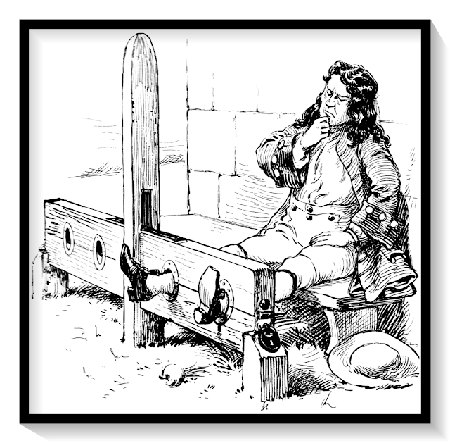 A person locked in stocks as a punishment