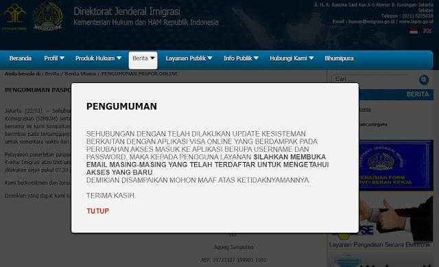 kenapa layanan paspor online tidak bisa diakses