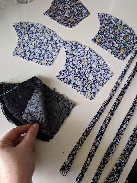 montage d'un masque en tissus en couture