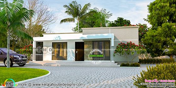 Flat roof house by Sarath Kumar
