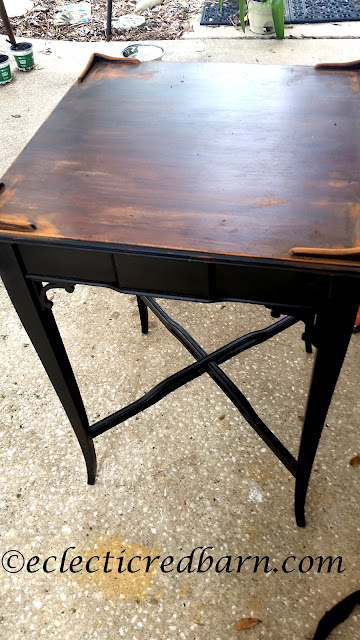 Furniture Makeover. Share NOW. #sidetable #furnitureredo #salvagedfind #eclecticredbarn