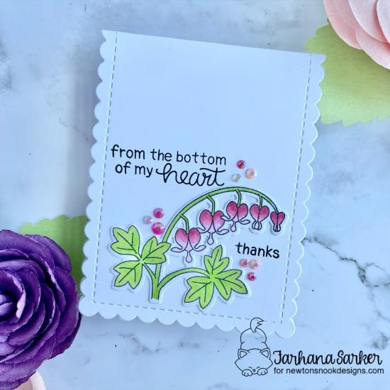 Bleeding Heart Thank You card by Farhana Sarker | Bleeding Heart Stamp Set and Slimline Frames & Portholes Die Set by Newton's Nook Designs #newtonsnook