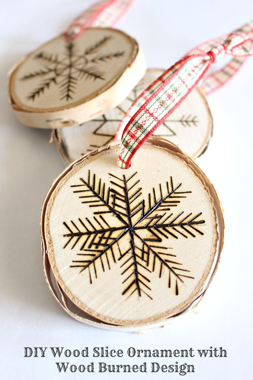 DIY wood burned birch slice ornaments