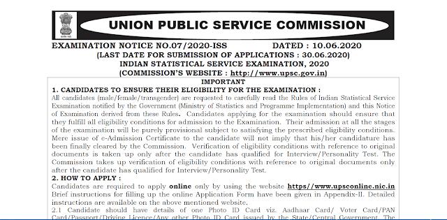 UPSC Indian Statistical Service 2020