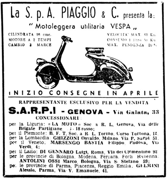 Vespa, first newspaper ad 1946