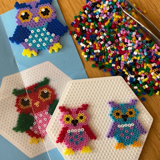 Mini Hama bead owls kit in progress