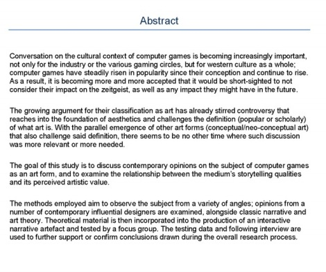 Research Proposals - Abstract or Summary