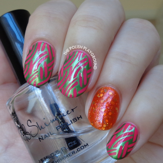 Pink with Green Shimmer Braided Pattern Stamping Nail Art