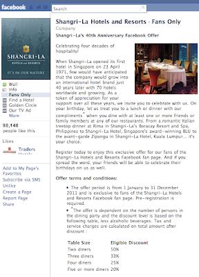 Shangri-La's 40th Anniversary Facebook Offer