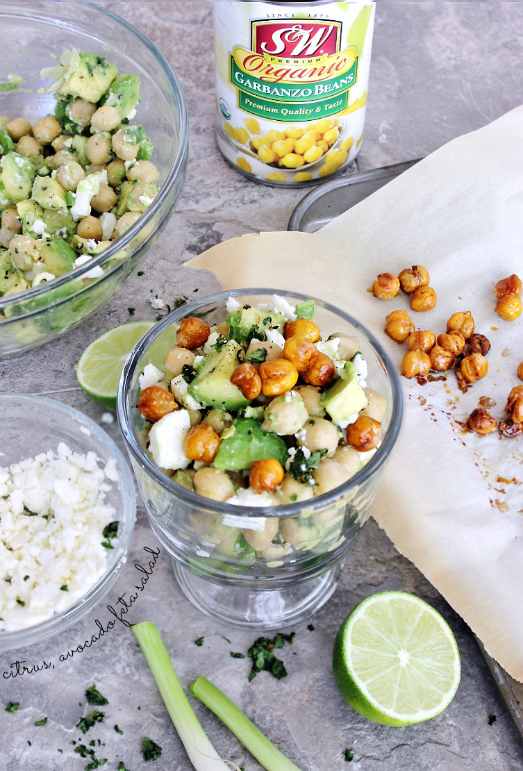 Citrus, Avocado, Feta Salad With Honey Roasted Chickpeas Recipe. #SWBeans #IC #AD