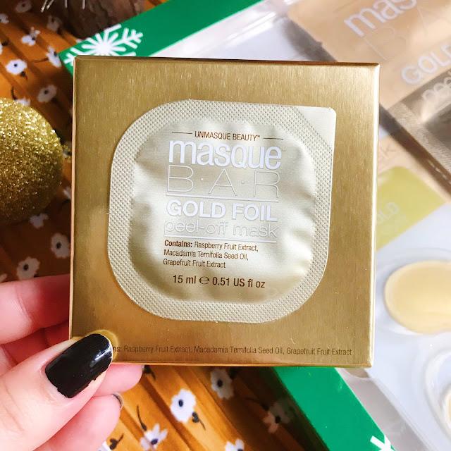 closeup of MasqueBAR Gold Foil Peel Off Mask