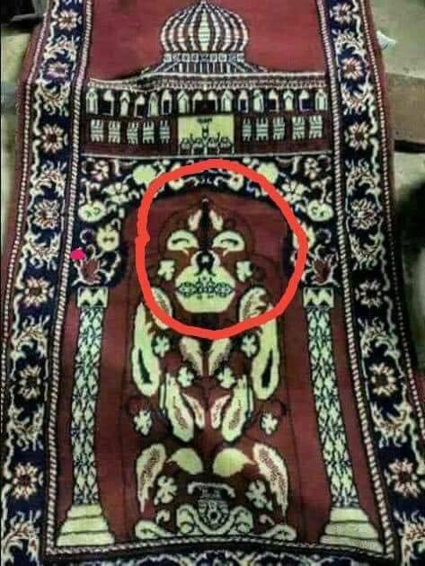 hidden symbol on prayer mat janamz musallah hindi