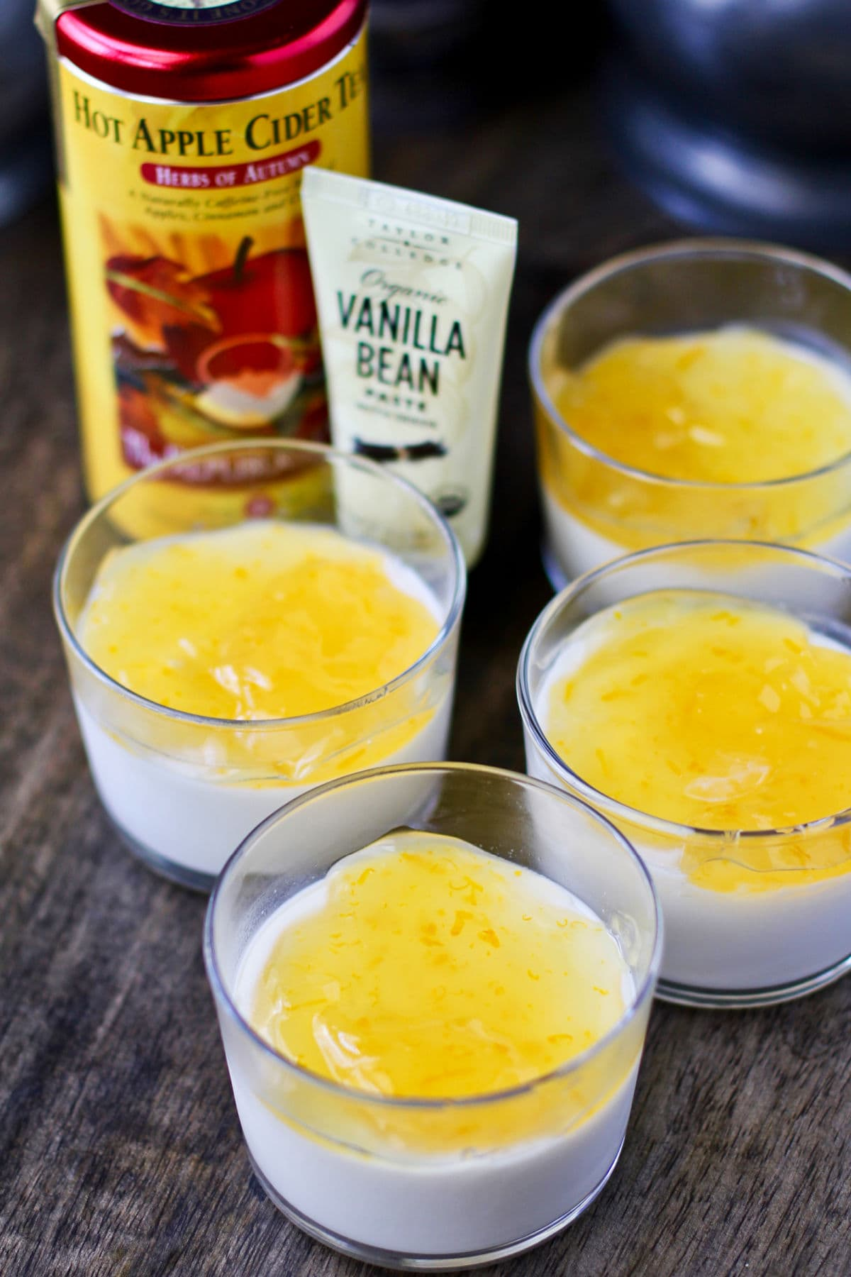 Sweet Tea Panna Cotta with vanilla bean paste.