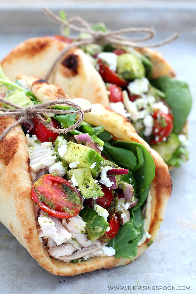 Chicken Wraps with Hummus, Goat Cheese & Chimichurri Sauce