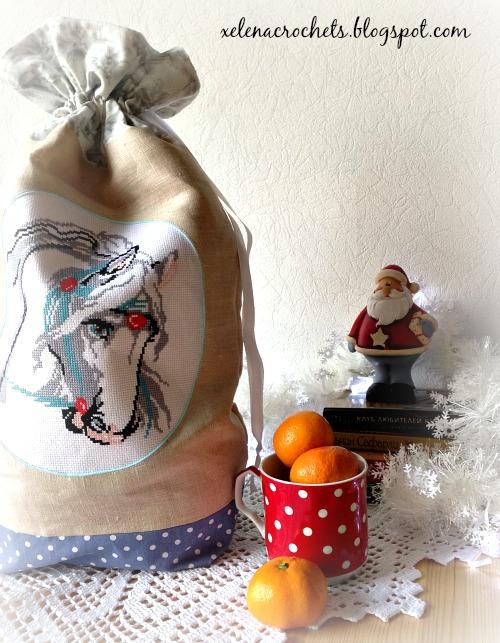 прикладная вышивка мешок для подарков