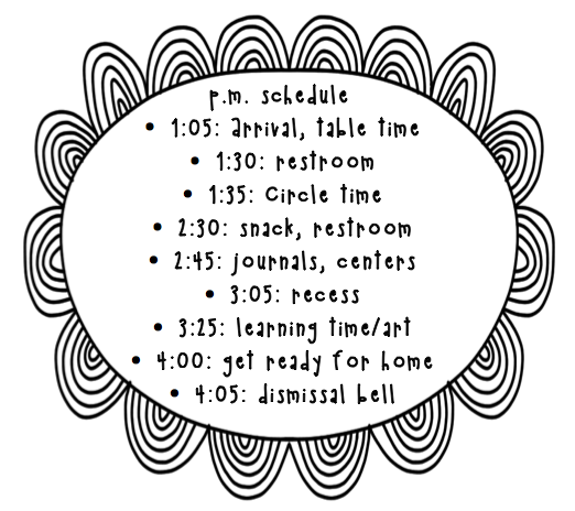 Preschool Wonders: My Daily Schedule and a Freebie!
