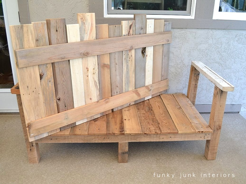 How i built the pallet wood sofa part 2 funky junk interiors for Sofa de palets exterior