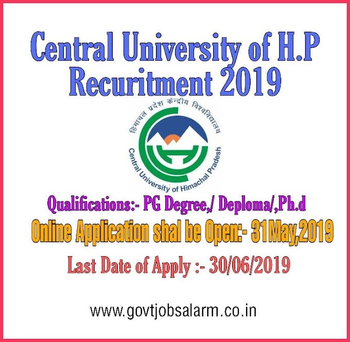 Central University of Himachal Pradesh Recruitment 2019
