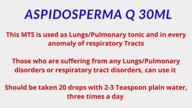 ASPIDOSPERMA Q Homeopathic Medicine Dosage
