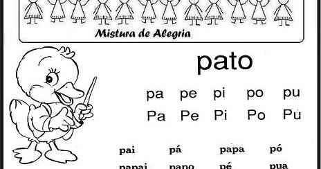 CARTILHA DE ALFABETIZAO 1 PARTE FAMLIAS SILBICAS