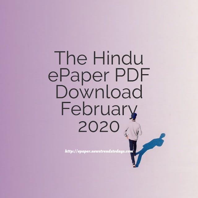 The Hindu ePaper PDF Download February 2020