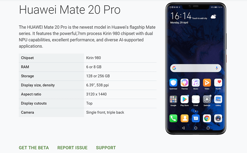 Huawei Mate 20 Pro is back under the Android Q Beta program