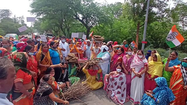 Congress Protests Against Inflation : BJP Has Emptied The Plate Of Common Man | कांग्रेस का महंगाई के खिलाफ विरोध प्रदर्शन : आम आदमी की थाली भाजपा ने कर दी खाली