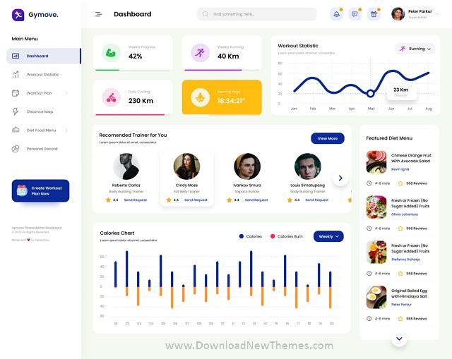 Fitness Admin Dashboard Website Design UI Template