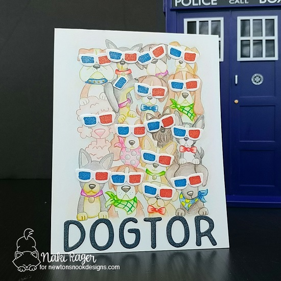 Doctor Who inspired Dog Card by Nakaba Rager | Woof Pack Stamp Set and Essential Alphabet Die Set by Newton's Nook Designs #newtonsnook #handmade