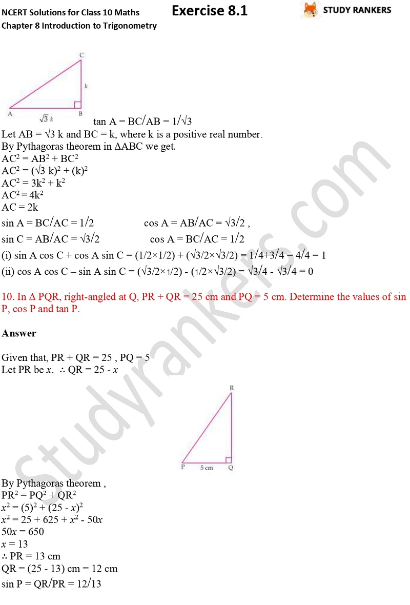 NCERT Solutions for Class 10 Maths Chapter 8 Introduction To Trigonometry Exercise 8.1 Part 6