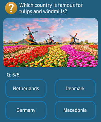 Which country is famous for tulips and windmills?