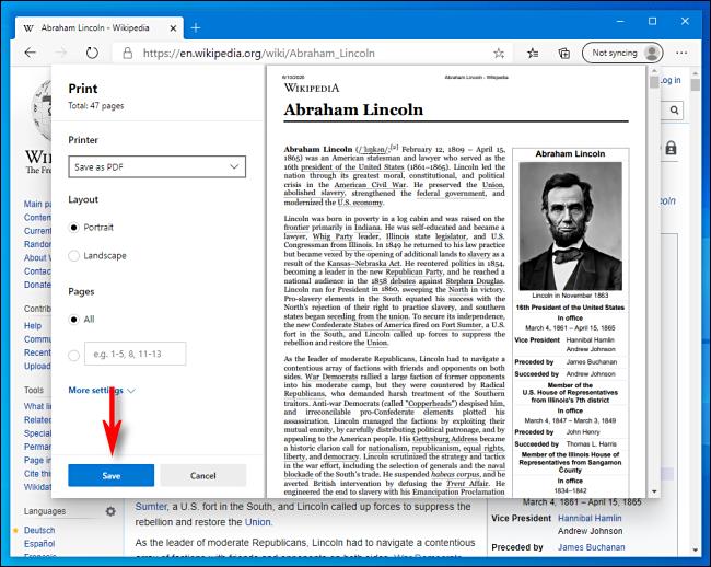 انقر فوق حفظ في نافذة الطباعة في Microsoft Edge