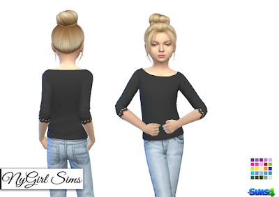 NyGirl Sims 4: Wide Neck Lace Trim Sweater