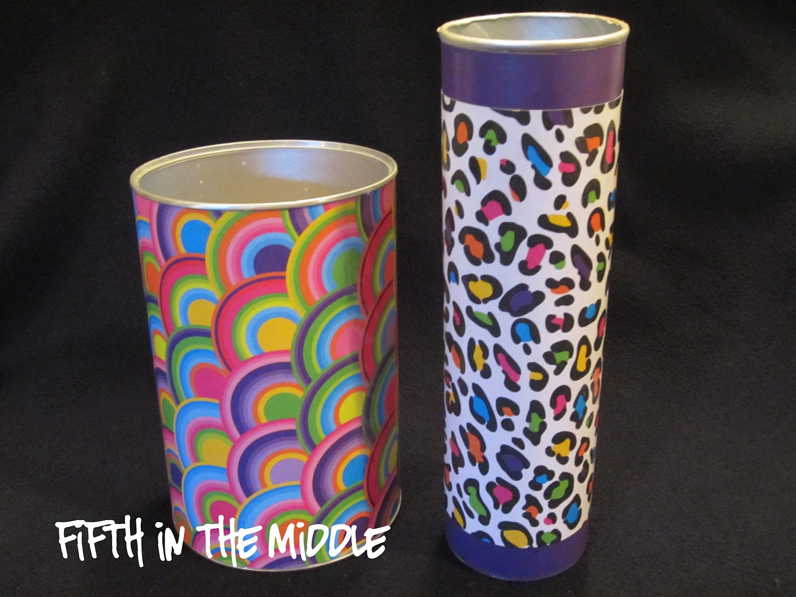 Use scrapbook paper and Mod Podge to repurpose formula containers and chip canisters.