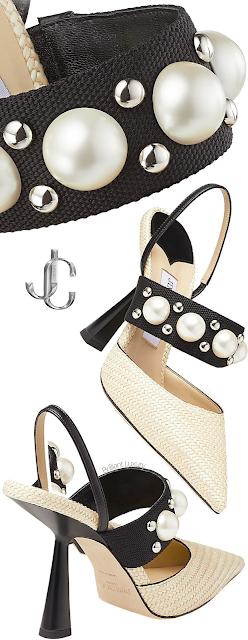 Jimmy Choo Breslin natural raffia slingback pumps with pearl and stud embellishment #brilliantluxury