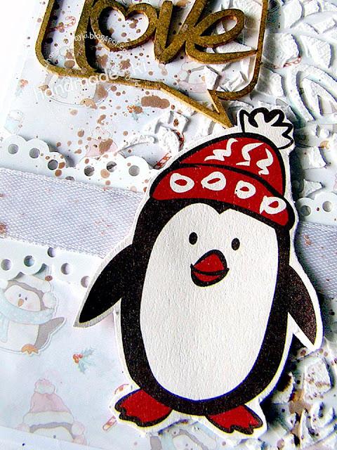 pkartka ozdobiona pingwinkiem i napisem love