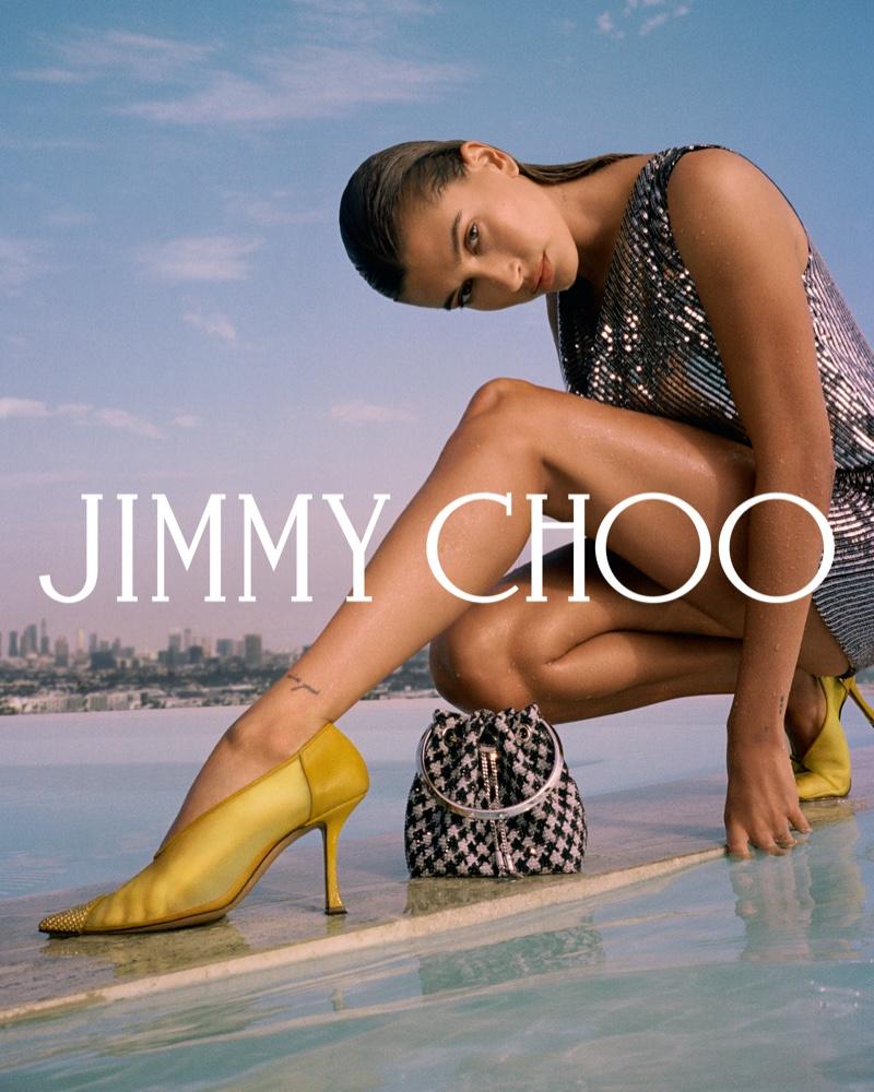 Hailey Bieber flaunts some leg in Jimmy Choo fall 2021 campaign