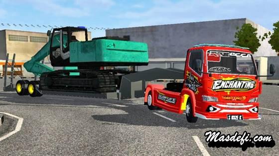 mod truck canter trailer muat excavator