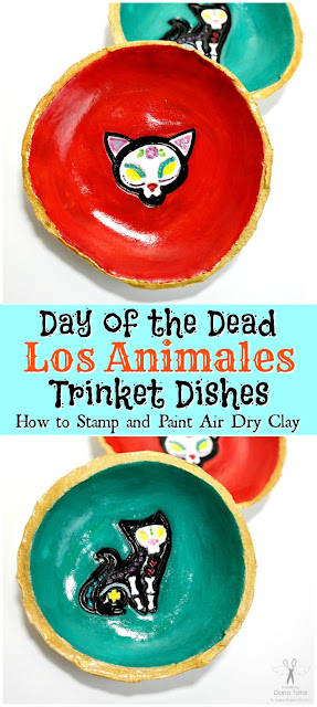 Day of the Dead Los Animales Stamped Clay Trinket Dishes