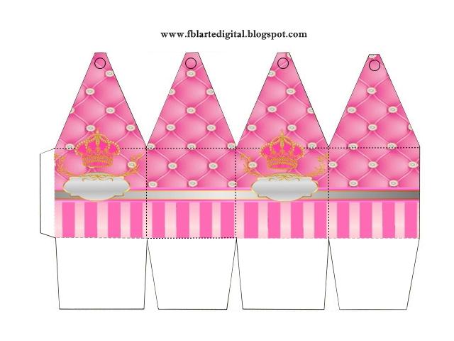 Caja con forma de pirámide de Corona Dorada en Fondo Rosa con Brillantes.