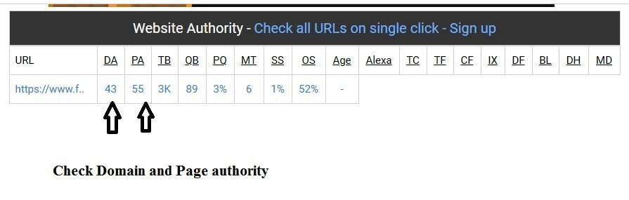 Check Domain and Page Authority