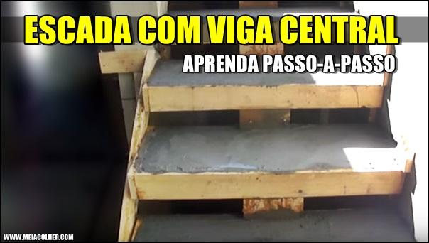 construção de escada com viga central