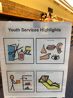 A poster titled Youth Services Highlights, with 4 visuals in squares: arts and crafts, sensory activity, browsing collection, and person relaxing in cool-down space