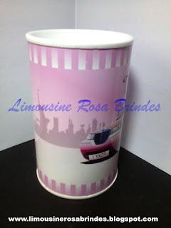 Cofrinho Limousine Rosa, Limousine Rosa, Briosa, Lembrancinha Limousine Rosa, Festa Limousine Rosa, Tema Limousine Rosa